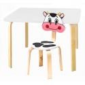Комплект детской мебели Мордочки с белым столиком