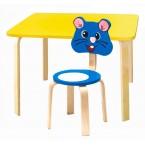 Комплект детской мебели Мордочки с желтым столиком