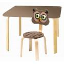 Комплект детской мебели Мордочки с коричневым столиком