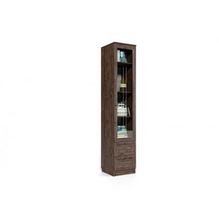 Шкаф Шервуд с ящиками и дверь со стеклом Шт-05м Дуб Тёмный
